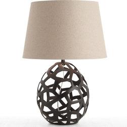 "Arteriors - Arteriors Salem Black Oxidized Iron Oval Table Lamp - With an open web design, the Salem table lamp by Arteriors brings the look of a contemporary sculpture to a living room or bedroom. Its black egg-shaped base is topped with a natural linen shade. 19"" Dia. x 28""H; Oxidized iron; Natural linen shade with white cotton lining; 3-way switch; 150W bulb (not included); UL and CUL listed; Wired for 110-120v; Handcrafted; Variations in finish may occur"