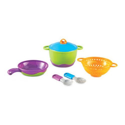 Learning Resources - Learning Resources New Sprouts Cook It! My Very Own Chef Set - LER9257 - Shop for Learning and Education from Hayneedle.com! Stir your child's culinary curiosity with the Learning Resources New Sprouts Cook It! My Very Own Chef Set. This modern six-piece set has soft rubberized parts and easy-grip handles that are suited for little ones. Pieces included are a pan strainer pot lid (which fits on both pot and pan) slotted spoon and serving spoon. Your child can also learn stacking skills as the pieces stack for compact storage.About Learning ResourcesA leading manufacturer of innovative hands-on educational materials and learning toys Learning Resources has been teaching children through play in the classroom and the home for over 25 years. They are a trusted source for educators and parents who want quality award-winning educational products. Their diverse product line of over 1300 products serves children and their families kindergarten primary and middle school markets focused on the areas of mathematics science early childhood reading Spanish language learning and teacher resources. Since their founding in 1984 Learning Resources continues to be guided by its mission to develop quality educational products that make learning exciting for children of all ages and abilities. They strive to create hands-on products that build a concrete foundation of skills through exploration imagination and fun.