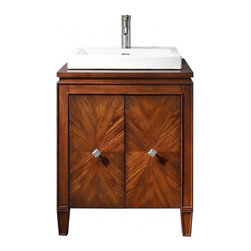 "Avanity Corporation - 25 Inch Traditional Single Sink Bath Vanity - The Brentwood 25 in. vanity features a new luxurious walnut finish with a transitional styling that would compliment any bathroom. Hand-crafted out of solid poplar wood and elm veneers, wood-matched design soft-close doors and antique nickel door knobs. Dimensions: 25""W X 22""D X 32""H (Cabinet Only); 25""W X 22""D X 35""H (With Counter Top) (Tolerance: +/- 1/2""); Counter Top: Veneer Wood NOT Pre-drilled with Openings; Finish: New Walnut; Features: 2 Doors, 1 Interior Shelf; Soft Close Hinges; Adjustable Height Levelers; Hardware: Brushed Nickel; Sink(s): 24""W X 21""D X 3""H Semi Recessed White Vitreous China; Faucet: Countertop NOT Pre-drilled for a Faucet (Not Included); Assembly: Light Assembly Required; Large cut out in back for plumbing; Included: Base Cabinet; Not Included: Sink, Faucet, Backsplash, Mirror (24""W X 1.5""D X 32""H)"