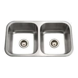 Houzer - Houzer ED-3108 50/50 Double Bowl Sink with Strainer - Houzer Stainless Steel kitchen sink Undermount 20 gauge Elite 50/50 Double Bowl.