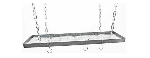"Rogar - 35"" x 8.5"" Hanging Rectangle, Hammered Steel/Chrome - Dimensions:  35 in. L x 15 in. W x 2 in. H"