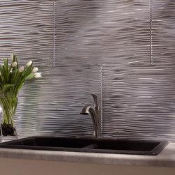 Modern backsplash styles - Fasade Waves, Brushed Aluminum