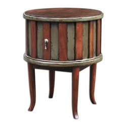 Crosetta Drum Table - The Fine Grain Of Mahogany Wood With A Slightly Weathered, Honey Stain Creates A Striking Accent Next To Distressed Laurel Gray On This Planked Drum Table With Solid Mahogany Legs And Dovetail Drawer. Bulbs Included: No