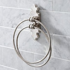 """Florence Double Towel Ring, Polished Nickel finish - Featuring an intricately contoured back plate and ball finials, our Florence Double Towel Ring brings a touch of distinctive elegance to the bath. 8.5"""" wide x 1.5"""" deep x 6"""" high Crafted of zinc alloy with a polished nickel finish. Sealed with a clear protective lacquer. Mounting hardware included. View our {{link path='pages/popups/fb-bath.html' class='popup' width='480' height='300'}}Furniture Brochure{{/link}}."""