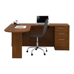 Bestar - Bestar Embassy L-Desk in Tuscany Brown Finish - Bestar - Home office Desks - 6088063 - Warm and elegant the Embassy Collection stands out with its versatility. From executive groups to computer work centers Embassy is the answer. Stylish moldings thermofused melamine finish and designer handles are some of the great features offered in this stunning collection by Bestar. This traditional modular collection offers numerous configuration for various use.