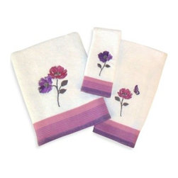 """Saturday Knight Ltd. - Floral Waltz Bath Towel - The charming colors and romantic feel of the Floral Waltz Bath Collection will freshen up any bathroom. Bath towel measures 24"""" x 48"""". It features a white cotton terry towel with a dobby striped band and embroidered flowers in lavender and pink."""