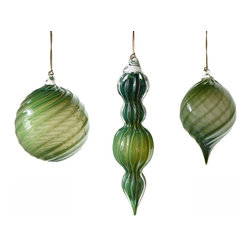 Working Man Hand Made - Set Of Dark Green Holiday Ornaments With Twisted Optics - All of our holiday ornaments are made using traditional Italian glass blowing techniques accentuated by bright and festive colors. Our line of transparent ornaments will brighten your holiday season!