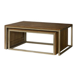 """Hammary - Flashback Rectangular Nesting Cocktail Table - """"A warm & welcoming collection using reclaimed materials. The contrast of the rustic wood on linear metal frames adds to the high end styling. Crafted of Reclaimed Hardwoods in a Rusty Red-Brown finish with Oiled Bronze color steel frames."""