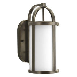 """Progress Lighting - Progress Lighting P5719-20 Greetings 7-5/8"""" 1 Light Outdoor Wall Lantern in Anti - Stylish outdoor wall lantern with etched opal glass and a banded metal framework.ADA Compliant: No Bulb Type: Incandescent Collection: Greetings DarkSky: No Depth: 9-7 8 Finish: Antique Bronze Glass: Etched Opal Height: 17 Height to Center: 9-1 8 Light Direction: Ambient Lighting LowVoltage: No Motion Sensor: No Number of Lights: 1 Photocell: No Shade Material: Glass Shade Shape: Cylinder Socket 1 Base: Medium Socket 1 Max Wattage: 100 Socket base: Medium Solar: No Style: Transitional Suggested Room Fit: Outdoor Title 22: No Title 24: No Wattage: 100 Weight: 14 Width: 7-5 8"""