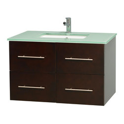 """Wyndham Collection - Centra 36"""" Espresso Single Vanity, Countertop, Undermount Square Sink, No Mirror - Simplicity and elegance combine in the perfect lines of the Centra vanity by the Wyndham Collection. If cutting-edge contemporary design is your style then the Centra vanity is for you - modern, chic and built to last a lifetime. Available with green glass, pure white man-made stone, ivory marble or white carrera marble counters, with stunning vessel or undermount sink(s) and matching mirror(s). Featuring soft close door hinges, drawer glides, and meticulously finished with brushed chrome hardware. The attention to detail on this beautiful vanity is second to none."""