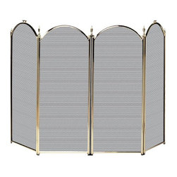 Uniflame - Four Fold Polished Brass Fireplace Screen Wit - Beautifully and expertly crafted, this screen really makes a statement!  .  This fireplace screen is triple-plated for lasting durability and functionality.  This screen offers everything that you are looking for in a fire screen.  This screen takes classic design and turns it up a notch. * Stylish Screen is Functional and Attractive. Maintains Fireplace Safety. Allows For Ease and Comfort with Fireplace Maintenance. 52 in. W x 32 in. H