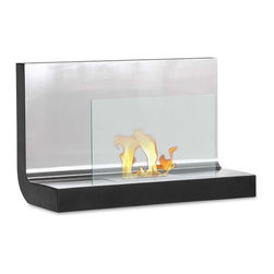 """Ignis Products - Ferrum Wall-Mounted Ventless Bioethanol Fireplace - Cozy up to the warm feel of this Ferrum Wall Mounted Ventless Ethanol Fireplace. This sleek, modern fireplace features a solid stainless steel top plate and an attractive glass shield for a look that is contemporary and chic. This ventless fireplace mounts on the wall and feature an approximate BTU output of 6,000 BTUs.  Its design makes it possible to enjoy the open flame and atmosphere of a traditional fireplace without the the need for wiring or vents. Light the flame and enjoy up to five hours of heat per burner refill. Although this wall mount fireplace unit is compact and takes up very little room on your wall, it will add a warm, toasty ambiance to most average-sized rooms. Dimensions: 31.5"""" x 19.75"""" x 14"""". Features: Ventless - no chimney, no gas or electric lines required. Easy or no maintenance required. Easy Installation - Mounts directly on the wall (mounting brackets included). Capacity: 1.5 Liter. Approximate burn time - 5 hours per refill. Approximate BTU output - 6000."""