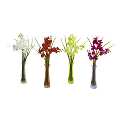 Nearly Natural - Nearly Natural Mini Phal with Colored Vase (Set of 4) - Satisfy several decorating needs in one fell swoop with this beautiful 4-piece Mini Phal set. The soft, delicate blooms rise out of the included decorative vase (complete with liquid illusion faux water). This is a multi-colored set, with 4 distinct colors, giving you a literal rainbow of decorating options. Perfect for both home or office, this amazing set also makes an ideal gift for that someone special.