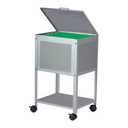 Dainolite - Dainolite HFC-300-SV Silver Hanging File Cart On Casters Hinged Top - Dainolite HFC-300-SV Silver Hanging File Cart On Casters Hinged Top