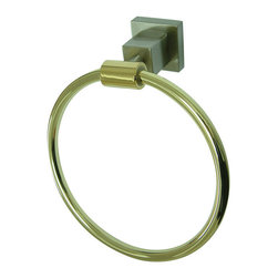 """Kingston Brass - 6"""" Towel Ring - Kingston Brass' bathroom accessories are built for long-lasting durability and reliability. They are designed so you can easily coordinate matching pieces. Each piece is part of a collection that includes everything you need to complete your bathroom decor. All mounting hardware is included and installation is easy.; 1-3/4"""" square bases; 6"""" towel ring; Premium finish; Easy installation; All mounting hardware included; Material: Brass; Finish: Satin Nickel/Polished Brass; Collection: Claremont"""