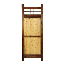 Oriental Furniture - 4 ft. x 1 1/2 ft. Japanese Bamboo Kumo Fence - Narrow Japanese bamboo garden fence panel. At just a foot and a half wide, perfect for gardens with meandering borders or small corners. Dark walnut frame is constructed using durable, kiln-dried wood. Features center panel of authentic bleached bamboo poles with cross bars and decorative ties for durability. Use individually, grouped, or paired with our larger sizes of the Kumo Fence.