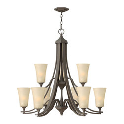 Hinkley Lighting - Brantley 9-Light Chandelier - Think of a chandelier as jewelry for your ceiling. This chandelier will meet your strict guidelines for quality. Twin arm construction, oil-rubbed bronze finish and etched glass globes combine for a simply stunning piece of jewelry. Besides, aren't you worth it?