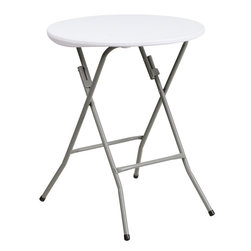 Flash Furniture - Flash Furniture 24'' Round Granite White Plastic Folding Table - This petite commercial grade table can be used in banquet halls, cafeterias, or in the home. This table is a great solution for temporary setups for displaying food or other small items. Flash Furniture's 24'' Round Folding Table features a durable stain resistant blow molded top and sturdy frame. The blow molded top requires low maintenance and cleans easily. The table legs fold easily when no longer needed.