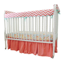 Tushies and Tantrums - Bumperless Cribset in Aqua, Coral, and Yellow with Chevron Stripes - What a beauty! We love the contrast between the aqua piping and coral chevron stripes on the rail guard. We also love the soft, feminine touch that the floral sheet gives this set.
