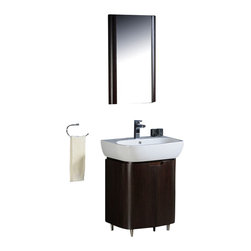 "Fresca - Fresca Andria Modern Bathroom Vanity - Wenge - The Fresca Andria is a 26"" free standing vanity that fits virtually anywhere. Although small in size, this model has 2 large doors that swings out to reveal a large storage area, including a glass shelf on the inside of each door. The matching mirror completes this attractive ensemble."