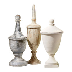 Decorative Finial Boxes - Set of 3 - Carved from mango wood into formal, classic shapes and distressed for three different degrees of timeworn finish, the Decorative Finial Boxes have the perfectly personalized architectural salvage look that is prized so highly in transitional interiors. Appealing texture and tall, stately form make their mark in your home; lift the lids for surprising hidden storage.