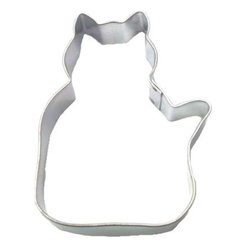 HOF - Cat Curious 3.5 In. B1252 - Cat Curious cookie cutter, made of sturdy tin, Size 3.5 in., Depth 7/8 in., Color silver