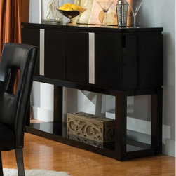 Standard Furniture - Folio Sideboard - Modern design make Folio a perfect addition to today's contemporary home. Features: -Black high sheen laminate top.-Storage space.-Bright nickel finish.-Folio collection.-Collection: Folio.-Distressed: No.