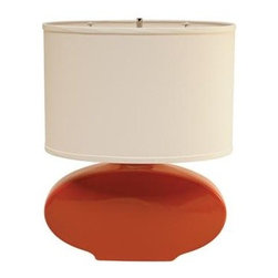"Haeger Potteries Paprika Oval Ceramic Table Lamp | LampsPlus.com - Haeger Potteries Paprika Oval Ceramic Table Lamp (P1761) This dazzling table lamp design features a bright, glossy paprika finish over ceramic. Our Price $159.91 FREE SHIPPING* Compare $239.99 QTY: Product Rating (0 Ratings) Write a Review Read 0 Reviews Review This Item For a Chance to Win $500! view rules Haeger Potteries has been headquartered on the clay-rich banks of the Fox River northwest of Chicago for over 130 years. Their famous ceramics use glazes that are the result of over four generations of development by expert craftsmen. This vibrant table lamp features a high fired gloss paprika finish on an elongated oval ceramic body. Cream linen shade. A three-way switch provides lighting options. High fired gloss paprika finish. Ceramic lamp base. Cream linen shade. Takes one 150 watt 3-way bulb (not included). 19"" high. Shade is 15"" across the bottom, 15"" across the top, and 10"" high. Also available in these finishes: Haeger Potteries White Oval Ceramic Table Lamp (P1762) PRICE: $159.91 Haeger Potteries Saffron Oval Ceramic Table Lamp (P1763) PRICE: $159.91 Haeger Potteries Purple Oval Ceramic Table Lamp (P1765) PRICE: $159.91 Haeger Potteries Mimosa Oval Ceramic Table Lamp (P1766) PRICE: $159.91 Review This Item For a Chance to Win $500! view rules PRODUCT REVIEWS SUMMARY Avg. Customer Rating: (based on 0 reviews) Be the first to review this product. Write a Review * Offer applies only to shipments made to the 48 continental US states. © 2011 LAMPS PLUS, Inc. All rights reserved. Terms of Use 