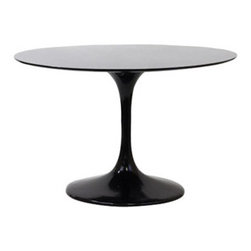 """LexMod - Lippa 40"""" Fiberglass Dining Table in Black - Lippa 40"""" Fiberglass Dining Table in Black - Achieve the perfect completion of time and grace with the classic Lippa Table. Reflect seamlessly as organic shapes and a slender stem-like pedestal glide you to the perfect vantage point. Elevate your surroundings beyond the sharp four-cornered traditional table as you blend divergent perspectives into one centrifugal force par excellence. Set Includes: One - 40"""" Lippa Table Scratch and Chip Resistant Finish, Fiberglass Top and Base Overall Product Dimensions: 39""""L x 39""""W x 29""""H - Mid Century Modern Furniture."""