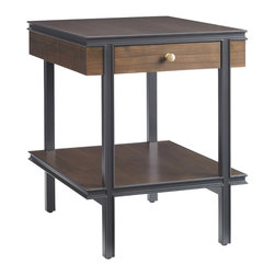 Stanley Furniture - Montreux Living Room End Table - Alpine Walnut - Open shelving suspended by narrow post legs creates a sense of architecture in the End Table. The clean lines are elegant in their simplicity. One drawer, one shelf. Made to order in America.