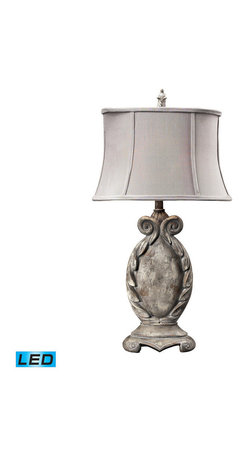 Dimond Lighting - Dimond Lighting Waterloo 18Th Century Parisian Scroll Table Lamp in Restoration - 18Th Century Parisian Scroll Table Lamp in Restoration Grey - LED Offering Up To 800 Lumens belongs to Waterloo Collection by Dimond Lighting Lamp (1)