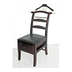 Proman Products - Manchester Chair Valet w Drawer - Features warm Brass hardware and finely crafted . Unique valet serves as a fine furniture piece. Handy way to keep your clothing wrinkle-free. Solid wood construction ensures years of enjoyment from this sturdy furniture piece. 44 in. W x 18 in. D x 23 in. H (24 lbs.)