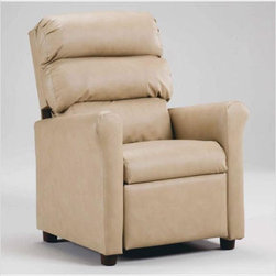 Brazil Furniture Children's Waterfall Back Recliner - This smooth and classic replica of an adult recliner will have your child asking for their reading time. Available also in camoflauge, this solid oak frame and cushy upholstery provide a perfect place to cuddle into. And the size is adorable.
