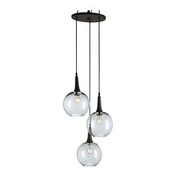 Kathy Kuo Home - Emery Modern Trio Adjustable Round Glass Pendant Light - Hanging glass ball pendant lights could be considered the LBD (little black dress) of contemporary foyers and dining rooms.  No matter what you pair them with, they just work!  This trio, finished in emery rust balance the earthy and glamorous to perfection.