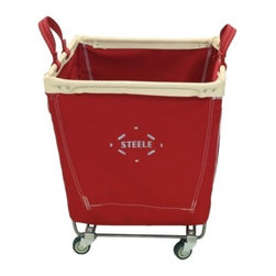 Colored Canvas Baskets - Industrial Steele canvas laundry carts are super functional and I love their look. They're going to be coming out with colored canvas baskets soon!