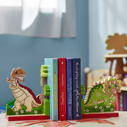 DINOSAUR KINGDOM KIDS ROOM COLLECTION - Story time isn't complete without Teamson's hand painted and hand carved dinosaur book ends!  Two heavy duty, high quality wood holders support your child's books securely, so there's no chance of losing a tale before bed. The earthy tones that are featured on these book ends are appealing to any room décor. Turn an ordinary bed time story into an adventure every time with these book ends! A great match with Teamson's Dinosaur Book Shelf. Perfect for Ages 3 and up.