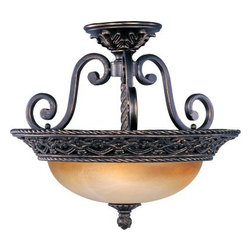 Maxim Lighting - Maxim Lighting 20281VAOI Portofino 3-Light Semi Flush Mount - The focal point of this lovely family is the ornately detailed rim finished in our Oil Rubbed Bronze finish that supports the Vintage Amber glass.
