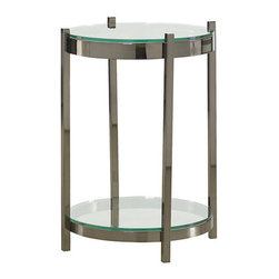 Hammary - Hammary Bruno Round End Table w/ Faux Crocodile Skin Front & Steel Base - - 349-916.  Product features: Belongs to Bruno Collection by Hammary; Glass Insert top; Round Table Top Shape; Faux Crocodile Skin Front; Steel Base. Product includes: Round End Table (1). Round End Table w/ Faux Crocodile Skin Front & Steel Base  belongs to Bruno Collection by Hammary.