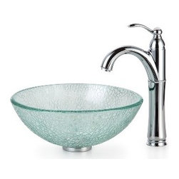 Kraus - Kraus Mosaic Glass 14 inch Vessel Sink and Riviera Faucet Chrome - *Add a touch of elegance to your bathroom with a glass sink combo from Kraus