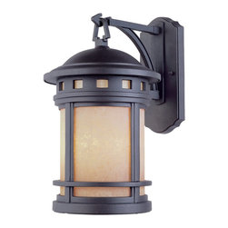 Designers Fountain - Designers Fountain Sedona Traditional Outdoor Wall Sconce X-BRO-MA-1832 - Decorate your home in style with this Designers Fountain Sedona Traditional Outdoor Wall Sconce. Notice the Mission-style design of the cast aluminum frame in a beautiful, oil rubbed bronze finish that perfectly complements the amber glass shade. It's a stunning, three-light piece, and one that will surely enhance the look of your home's exterior.