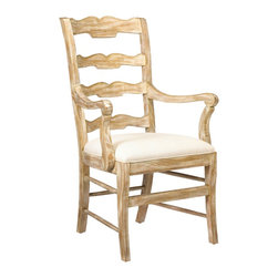 French Heritage - Beaujolais Ladderback Arm Chair, Gold Dust - This ladderback chair, with its scalloped beveled carving and rush seat, invites the comfort of the French Country atmosphere into the home; sit and enjoy the feeling of bright sunshine and gracious living.
