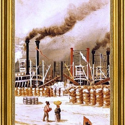 """William Aiken Walker-14""""x28"""" Framed Canvas - 14"""" x 28"""" William Aiken Walker New Orleans Levee Scene framed premium canvas print reproduced to meet museum quality standards. Our museum quality canvas prints are produced using high-precision print technology for a more accurate reproduction printed on high quality canvas with fade-resistant, archival inks. Our progressive business model allows us to offer works of art to you at the best wholesale pricing, significantly less than art gallery prices, affordable to all. This artwork is hand stretched onto wooden stretcher bars, then mounted into our 3"""" wide gold finish frame with black panel by one of our expert framers. Our framed canvas print comes with hardware, ready to hang on your wall.  We present a comprehensive collection of exceptional canvas art reproductions by William Aiken Walker."""