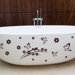 StickONmania - Bathtub Design Decal #2 - These decals come with two of each element mirrored, you choose how to place them.A vinyl decal sticker that lets you choose how to decorate. Decorate your home with original vinyl decals made to order in our shop located in the USA. We only use the best equipment and materials to guarantee the everlasting quality of each vinyl sticker. Our original wall art design stickers are easy to apply on most flat surfaces, including slightly textured walls, windows, mirrors, or any smooth surface. Some wall decals may come in multiple pieces due to the size of the design, different sizes of most of our vinyl stickers are available, please message us for a quote. Interior wall decor stickers come with a MATTE finish that is easier to remove from painted surfaces but Exterior stickers for cars,  bathrooms and refrigerators come with a stickier GLOSSY finish that can also be used for exterior purposes. We DO NOT recommend using glossy finish stickers on walls. All of our Vinyl wall decals are removable but not re-positionable, simply peel and stick, no glue or chemicals needed. Our decals always come with instructions and if you order from Houzz we will always add a small thank you gift.