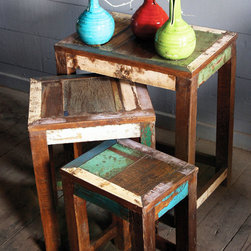 Recycled Teak Nesting Tables - This set of three recycled teak nesting tables are distressed to perfection. We love that they offer endless seating and table options. Great for those who are tight on space too, as they stack neatly when not in use.