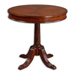 Uttermost - Uttermost 24149 Brakefield Pecan Round Table - Polished pecan finish over solid, carved hardwood base with top inlayed in cherry, primavera, zebra wood,-Light Bath Lighting cedar burl veneers.