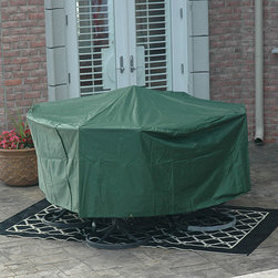 Esterna - Premium Round Table Outdoor Furniture Cover - Protect your outside furniture from the elements with this functional outdoor furniture cover. Featuring a 600-denier polyester fabric construction, it will fit over your large round table and chairs. The cover will prevent rusting and water damage.