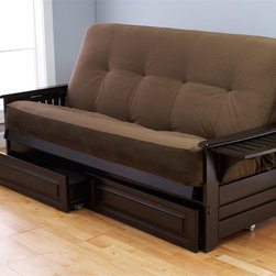 None - Ali Phonics Multi-flex Espresso Wood Futon Frame, Drawers and Mattress Set - Make any pajama party or visit from relatives more enjoyable with this fun futon frame and mattress set. It saves space, as the comfortable sofa becomes a full size bed in no time at all. Use it for everything from visiting relatives to sleepovers.