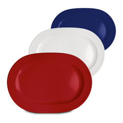 Waechtersbach - Set of 3 Fun Factory Oval Platters - Red, White & Blue - This patriotic 'Red, White & Blue' Set of 3 Oval Platters is made from high-fired ceramic. Perfect for the Fourth of July or other national holidays.