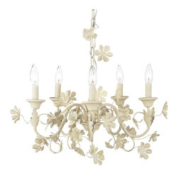 Jubilee Collection - 5 Arm Chandelier Leaf & Flower - Ivory - Material: metal . 18 x 10 in.