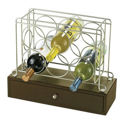 Howard Miller - 6-Bottle Wine Caddy in Wrought Iron w Tableto - Wine rack holds up to 6 bottles. Includes a storage base with a useful pull-out drawer. The felt-lined drawer is ideal for storing bottle openers, stoppers, and other accessories. Pull-out drawer in black coffee finish. Matching nickel finished knob. Satin nickel metal wine rack. 16 1/2 in. W x 6 1/2 in. D x 13 3/4 in H